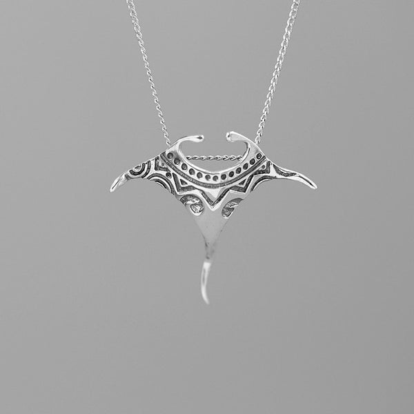 INATURE Vintage 925 Sterling Silver Manta Ray Fish Pendant Necklace Women Men Fashion Jewelry Gift