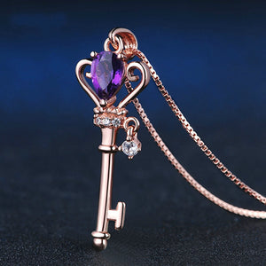 Natural Amethyst 925 Silver Mosaic Zircon Key Pendant Trendy Chain Necklace Fashion Charm Personality Jewelry Accessories