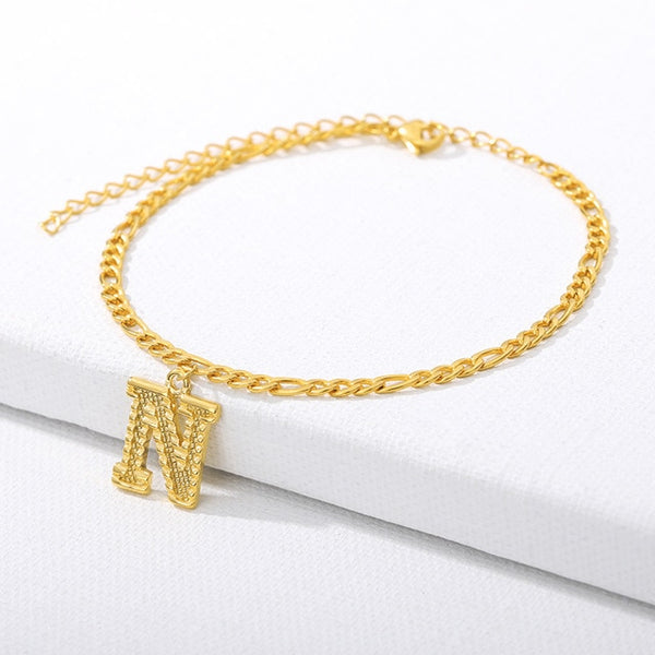 A-Z Initial Letter Anklets for Women Fashion Alphabet ankle bracelet Stainless Steel Cuban Link Anklet Foot Leg Chain Jewelry