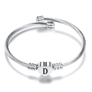 Initial Alphabet Heart Bracelets For Woman Customized Stainless Steel A-Z 26 Letter Cuff Jewelry Bracelet Bangles Silver Color