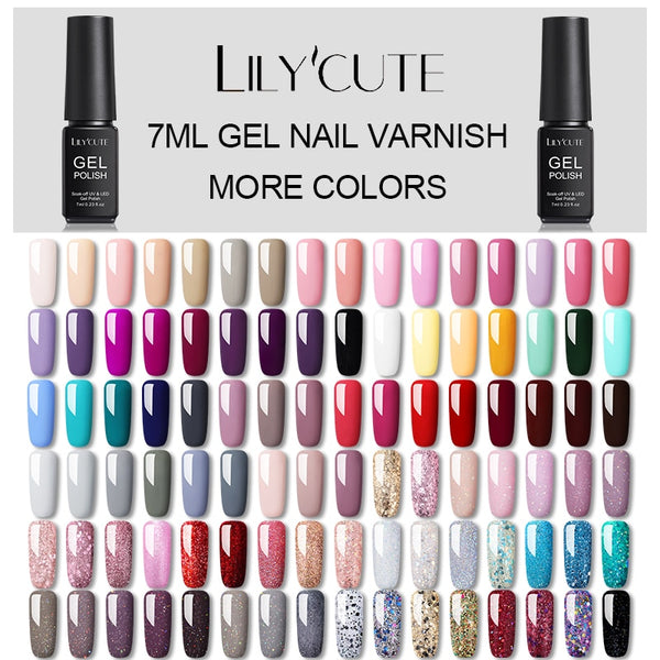 LILYCUTE Hybrid Varnishes Gel Nail Polish Semi Permanent Soak Off UV Gel UV Led Gel Polish  Nail Art Design