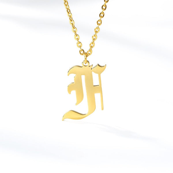 Initial Letter Necklace for Her A-Z Capital Letter Old English Chain Necklace Gold Stainless Steel Necklace for Women