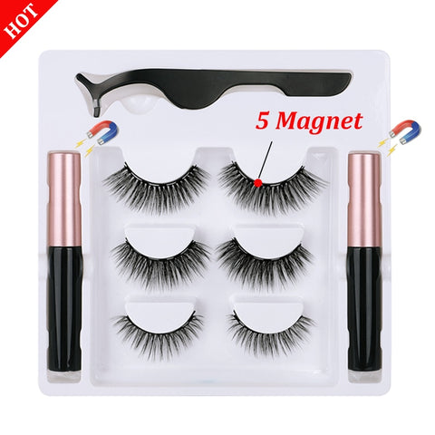 3d Magnetic Eyelashes and Eyeliner Set Natural Long In Bulk Wholesale 3Pairs Magnetic Eyeliner Magnetique Tweezer Kit Waterproof