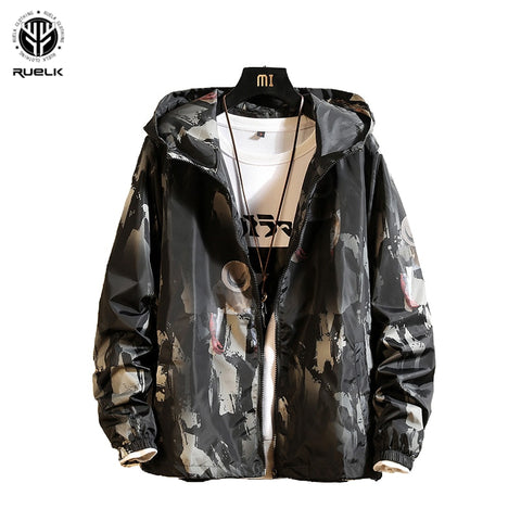 RUELK Tide Brand Jacket 2020 Spring And Autumn New Men Big Size Loose Hooded Fashion Personality Character Printing Long Sleeve
