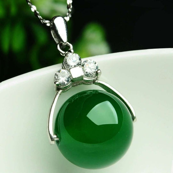 Natural Green Jade Chalcedony Round Agate Pendant 925 Silver Necklace Chinese Carved Charm Jewelry Fashion Amulet for Women Gift