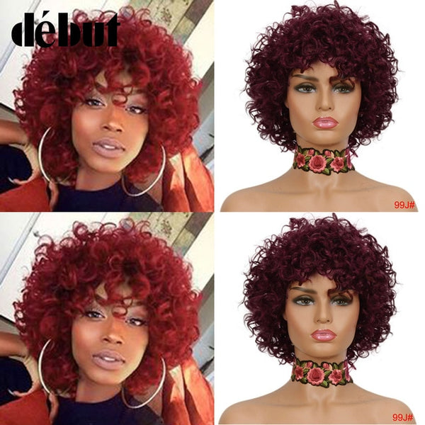 Debut Cheap Red Human Hair Wigs For Black Women Brown Ombre Brazilian Short Bob Curly Wigs 99J Remy Human Hair Machine Made Wigs
