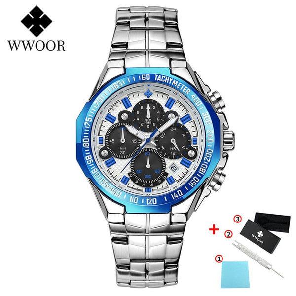WWOOR Watches Men Top Brand Luxury Black Sports Chronograph Clock Man Fashion Big Dial Quartz Wrist Watch Relogio Masculino 2020
