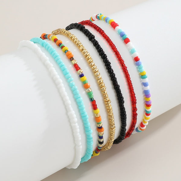 IngeSight.Z 7Pcs/Set Rainbow Beaded Anklet Bracelet for Women Adjustable Colorful Anklets Barefoot Sandals On Foot Ankle Jewelry