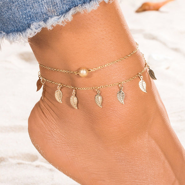 Bohemian Double Layer Beads Ankle Bracelet for Women Leg Chain Leafs Tassel Anklet Summer Beach Foot Jewelry Accessories