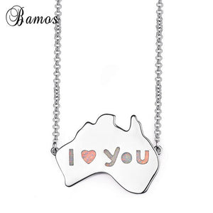Bamos Australia Map Necklace Blue/White Fire Opal Big Pandant Necklace For Women Men White Gold Filled Boho Jewelry Lovers Gift