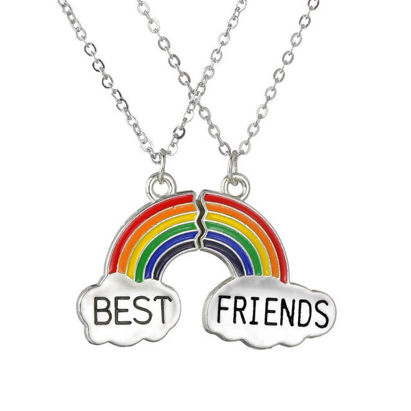 Best Firends Girlfriends Necklace Japan and South Korea Rainbow Cloud Drop Oil Stitching Pendant Clavicle Chain Female