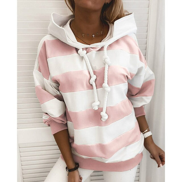 Casual Pullover Women Autumn Winter Sweatsuit Long Sleeve Stripe Hoodies Drawstring Women Blouse Hooded Sweatshirt