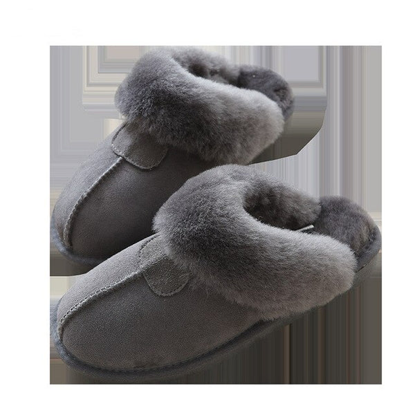 Women Natural Sheepskin Home Slipper Winter Women Indoor Slippers Fur Slippers Wool Flip Flops Slipper Lady Home Shoes