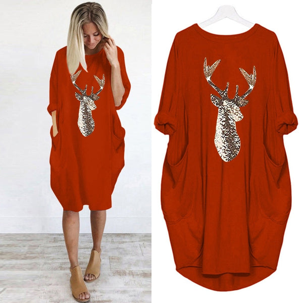 Women Christmas Party Dress Plus Size Loose Christmas Elk Print Winter Dress O Neck Long Pocket Casual Dress Vestidos Festa #38