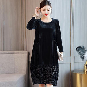 Hem Lace Patchwork Velour Dress 2019 Elegant Plus Size A-Line Velvet Dresses High Waist Dresses Long Sleeve Winter Dress DC261