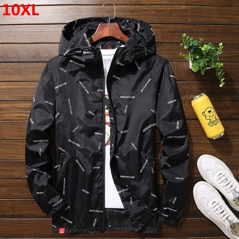 Thin section Spring and autumn plus size hooded jacket 9XL men's jacket casual jacket 10XL 8XL coat men