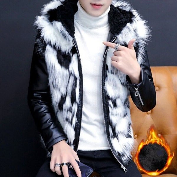 Winter New Korean Thick Warm Fleece Liner Mens Hooded Jackets Fashion PU Leather Patchwork Faux Fur Casual Male Big Size Coats