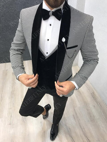 Slim Wedding Suits for Men white Jacquard ANNIEBRITNEY Men's Suits Groom Tuxedos Tailored Big Size Prom Jacket Pants Vest 3Pcs