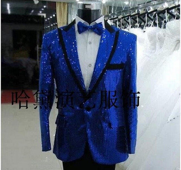 S-4XL!!   2018  Big yards stage costumes   Men's clothing  costume red navy blue gold paillette lace f  The singer's clothing