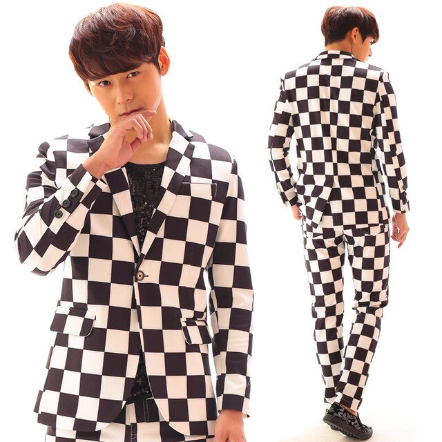 S-6XL  Big yards men suits !!!    2018   Bi for gba ng gd suit black and white plaid suit set male costume