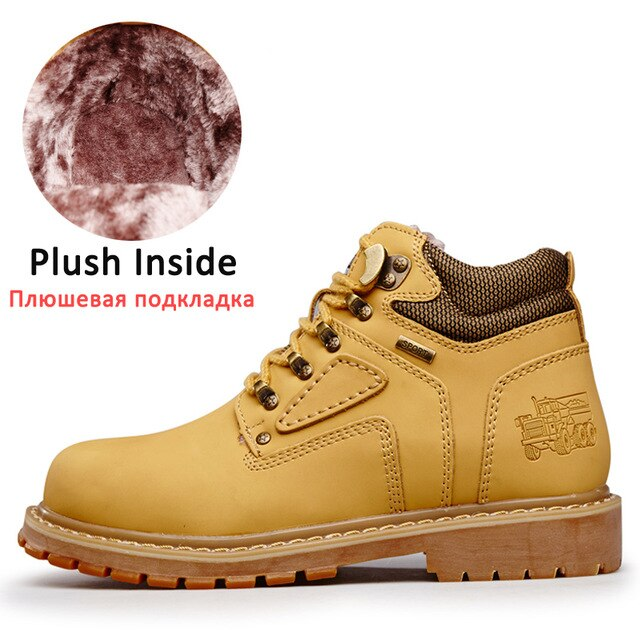 Winter Men's Walking Shoes Plus Fur Warm Nonslip Snow Motorcycle Work Boots Big Size High Top Wearable Outdoor Male Sneakers New
