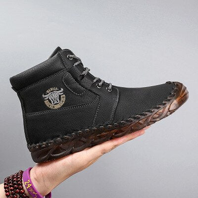 Man Ankle Boot Fur Winter Waterproof PU Leather Male Boots Big Size Rome Style Outdoor Lace Up Sewing Hiking Shoes Work Boots