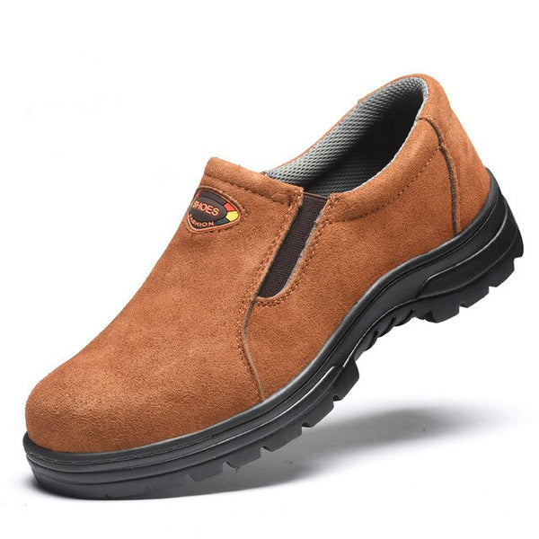 big size men casual safety shoes cow suede leather work shoe slip-on platform steel toe caps security boots protective footwear