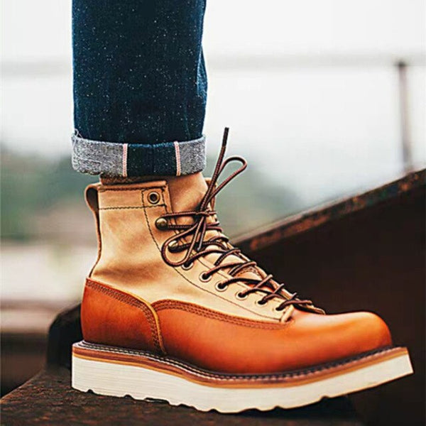 Handmade Vintage Ankle Boots Top Quality Men Casual Shoes Luxury Designer Big Size Outdoor Safety Work White Motorcycle Boots
