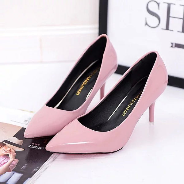 Plus Size OL Office Lady Shoes Faux Suede High Heels Woman Shoes Pointed Toe Dress Shoes Basic Pumps Women Boat zapatos mujer