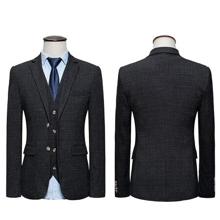 Men Smart Casual Suits Big Size M-6XL Two Buttons Slim Fit Jacket 3 Pieces Wedding Party Suits Black Dark Blue Grey F059