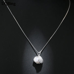 Free Shipping 925 Sterling Silver Necklace Shell Pearl Necklaces&Pendants Jewelry Collar Colar de Plata