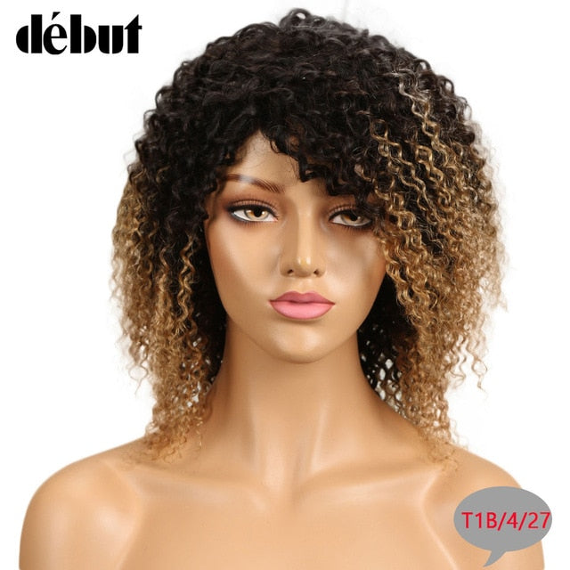 Debut Jerry Curly Wig Human Hair Bob Ombre Remy Human Hair Wigs For Black Women Brazilian Short Bob Wig T1B/4/27 Free Shipping