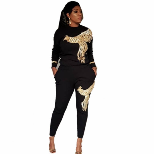 3XL Plus Size Africa Women Winter Handmade Beading Sequined Pattern Long Sleeve Knitted Tops Trousers 2PCS Clothing Sets
