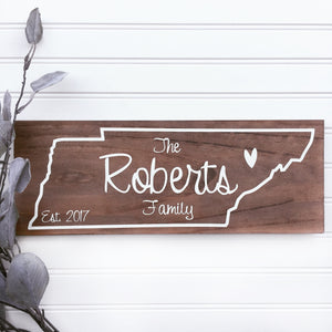 Custom TN State Family Name Sign - MIG