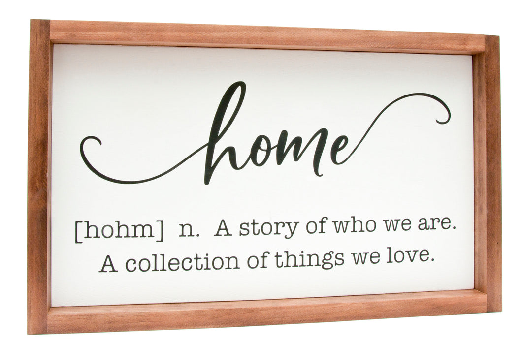 Framed Home Definition Sign