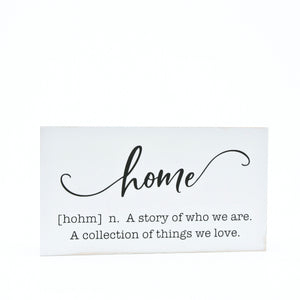 Small Wooden Home Definition Sign