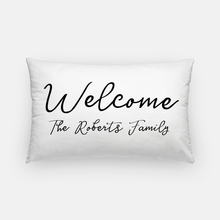 Lumbar Canvas Pillow - Welcome Family Name