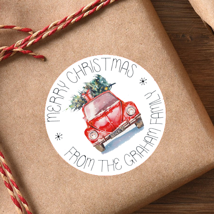 Christmas Car Labels sheet of 15