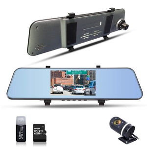 "1296P Mirror Cam Dual Lens Dashboard Camera with 170° Wide Angle 5"" Display ADAS Function"