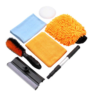 Car Cleaning Tool Kit by Scrub it- squeegee Car Wash Brush, Wheel Brush, microfiber wash mitt and cloth - For Your Next Vehicle wash and wax with our 6 PC Cleaning Accessories