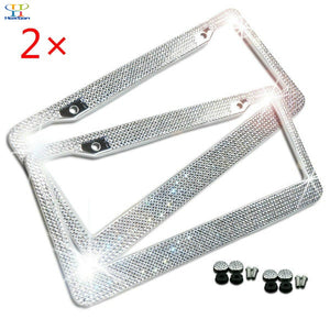 2x Accessories:standard screws matching universal screw cap covers Bling Glitter Crystal RhineStone License Plate Frame Rear