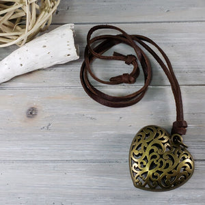 bronze heart necklace large