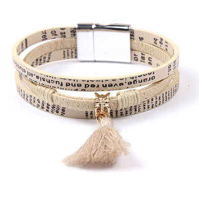 Leather Tassel Bracelet for Women