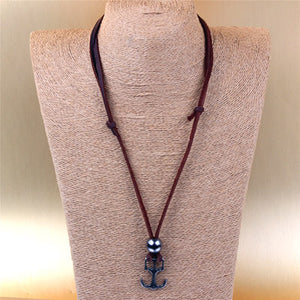 Mens Leather Anchor Necklace
