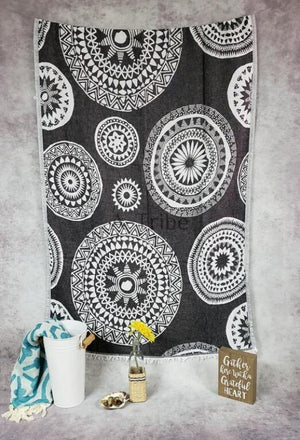 Turkish Beach Towels black mandala