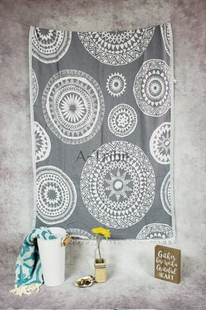Turkish Beach Towels mandala gray