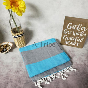 Turkish striped towels gray teal