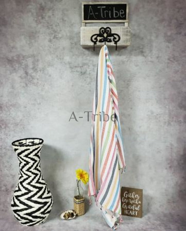 Striped Turkish Towels peshtemal online store hammam blanket round with fringe cotton made in Turkey By Atribe