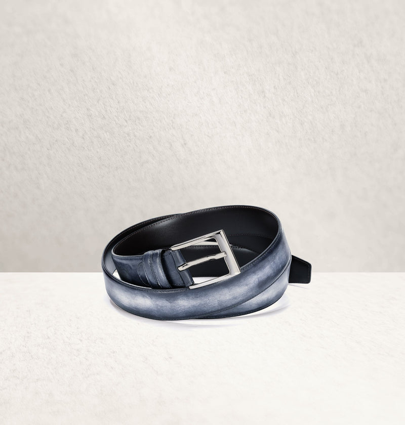 Dapper Calf Leather Bleu Belt