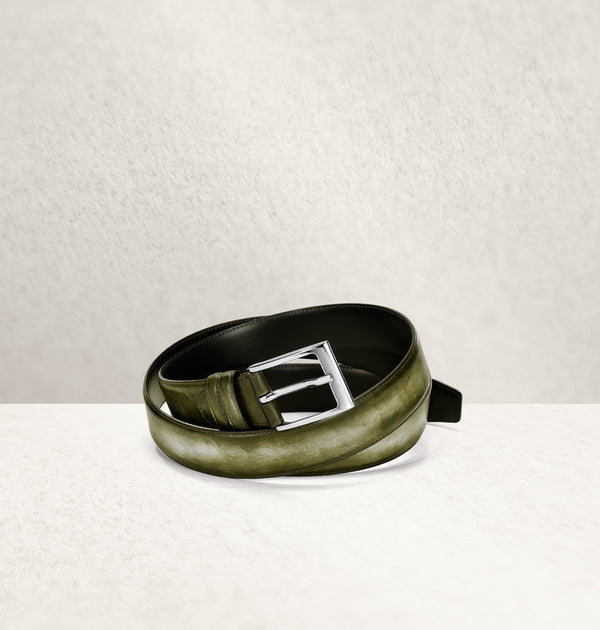 Dapper Calf Leather Vert Belt